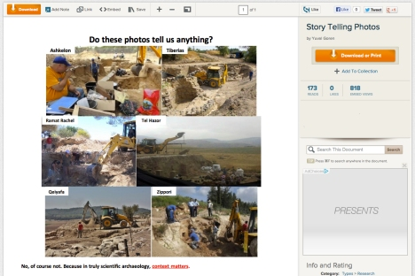 Prof. Yuval Goren responds to criticism of the use of mechanical excavators with a short article on Scribd, which includes a montage of different modern excavations all using mechanical excavators.