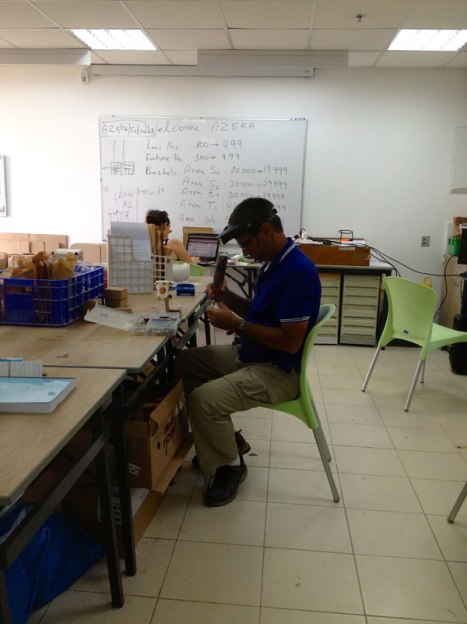 Prof. Yuval Goren works in the archaeological office at Nes Harim, which houses the staff of the Sochoh and Azekah archaeological excavations. I took this photo from my station in the lab.