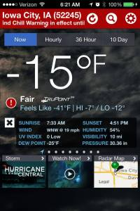 The weather in Iowa City, IA on Jan 6, 2014 was -15 with a wind chill of -41.