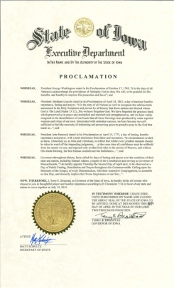 "Proclamation signed and issued by the Governor of Iowa, Terry Branstad, inviting Iowans to pray, fast, repent, and 'come together"" under the teachings of the deity YHWH so that the deity will ""heal our land""."