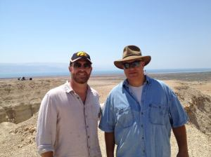 Robert Cargill with Yuval Peleg (ז״ל) at Qumran in July, 2013.