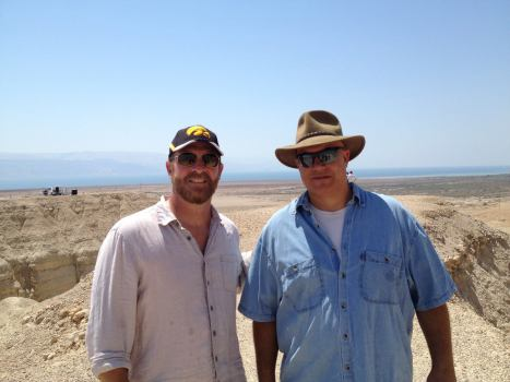 Robert Cargill with Yuval Peleg at Qumran in July, 2013.