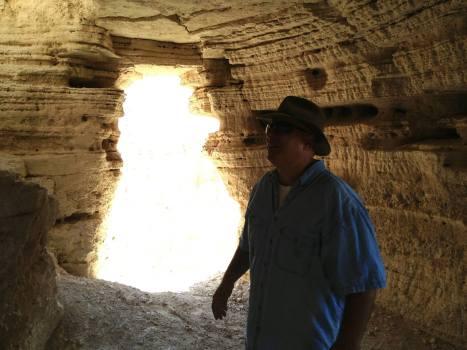 Yuval Peleg in Qumran Cave 4.