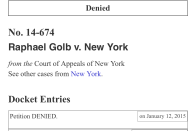 Raphael Golb's case is denied for review by the Supreme Court of the United States.