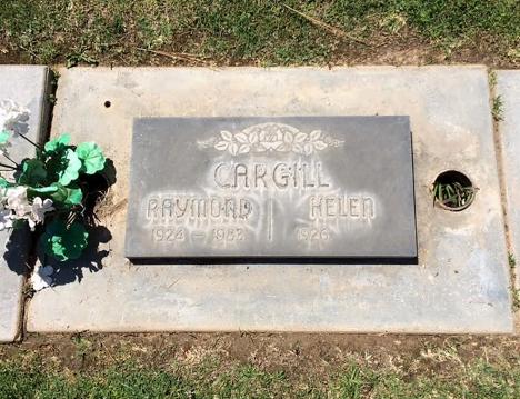Tombstone of Raymond Harold Cargill (1924-1983), Jay Chapel, Madera, California.